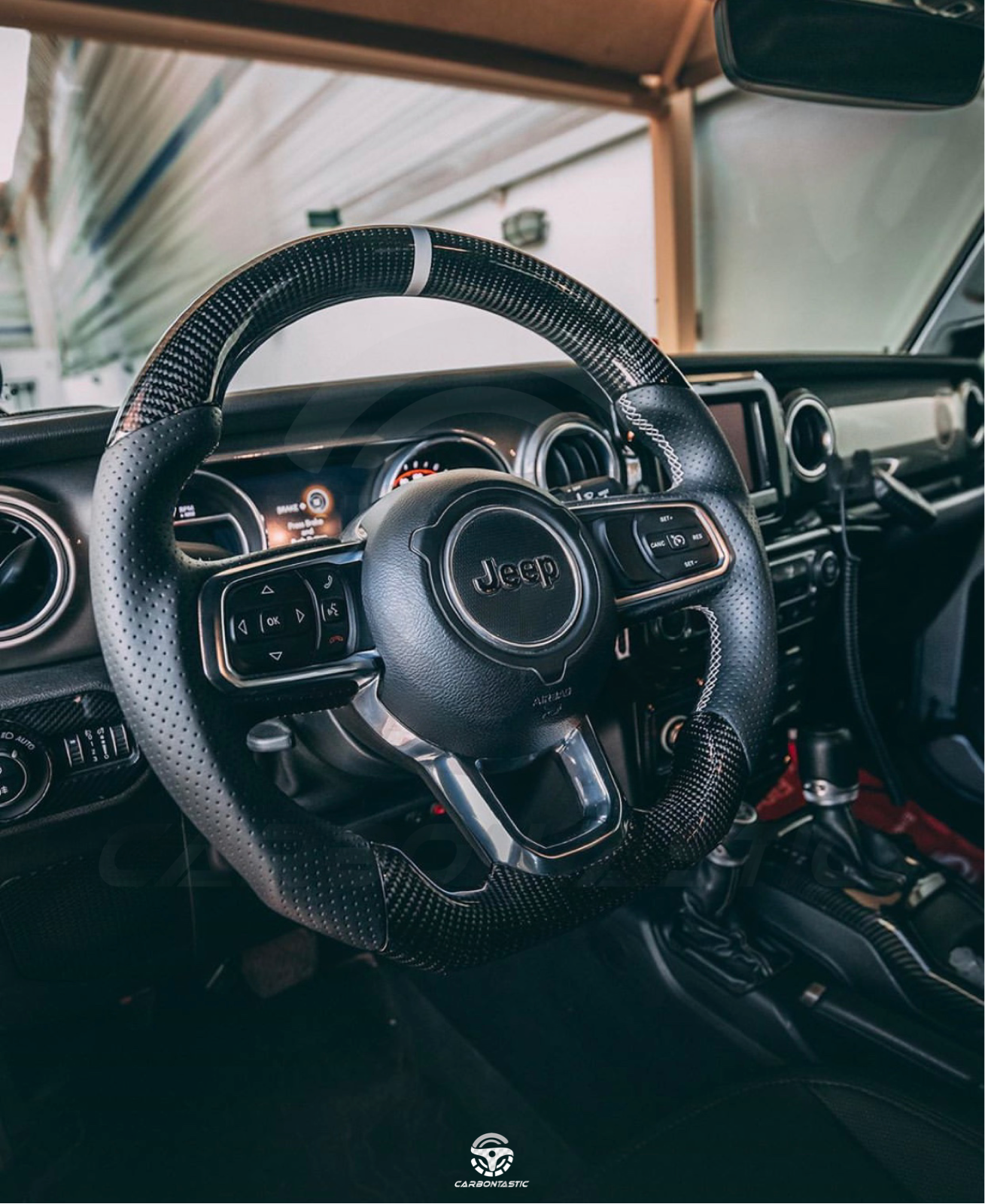 Voodonala for Jeep JL ABS Carbon Fiber Steering Wheel Cover Trim for 2018-2020 Jeep Wrangler JL JLU Gladiator JT Trunk