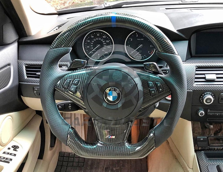 2006+ E60/63/64 Paddle Shifted Carbon Fiber Steering Wheel Style 1