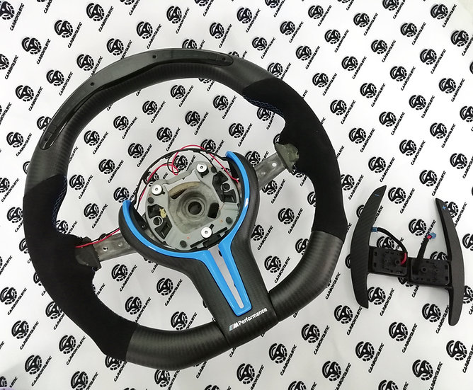 F Series 1-4 | X 1-6 | M2, M3, M4 Shift Light Carbon Fiber Steering with Paddle