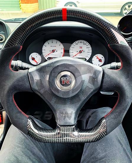 R34 GTR Custom Carbon Fiber Steering Style1