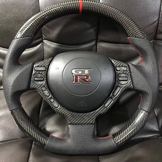 R35 GTR Custom Carbon Fiber Steering Style 2