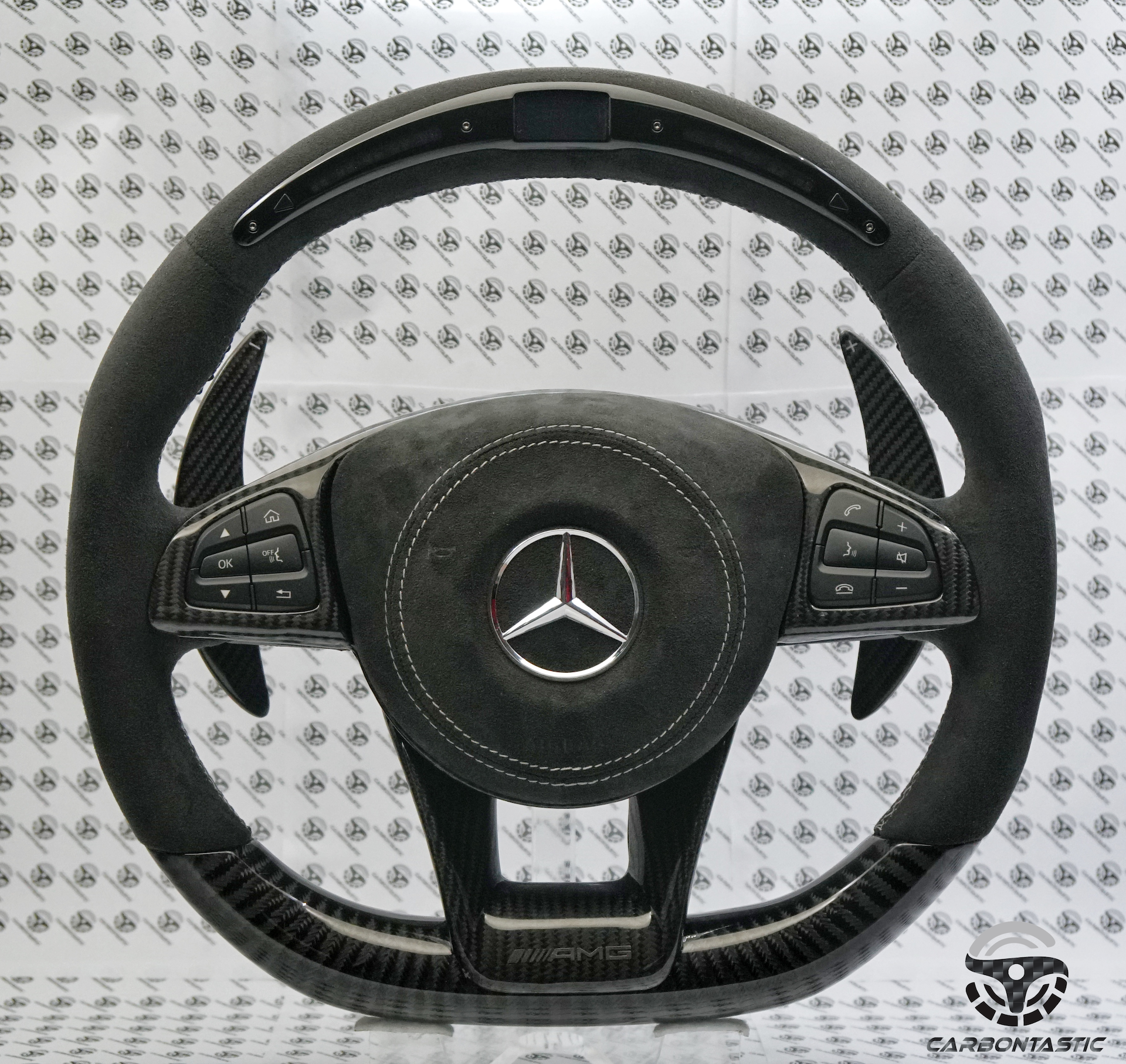 Mercedes-Benz Custom LCD Screen Shift Light Steering Wheel | carbontastic