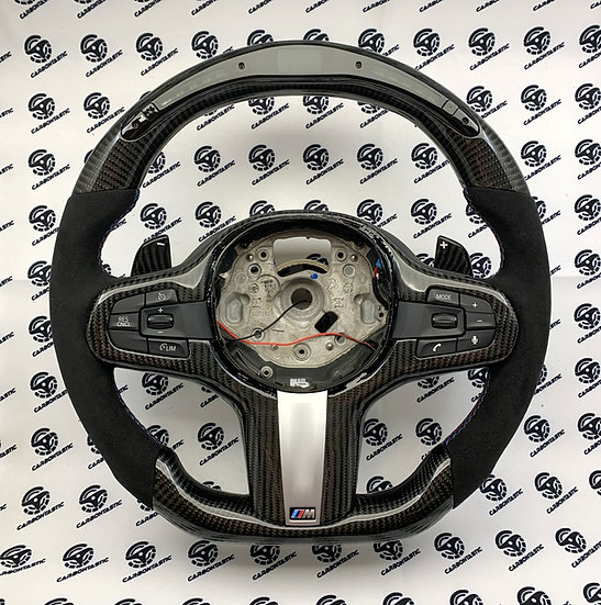BMW G Series Custom Carbon Fiber Steering Wheel with Shift Ligh (Paddle Shifted)