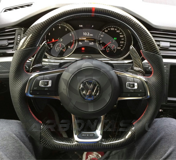 2015+ MK7 GTI Custom Carbon Fiber Steering Wheel (Paddle Shifted)