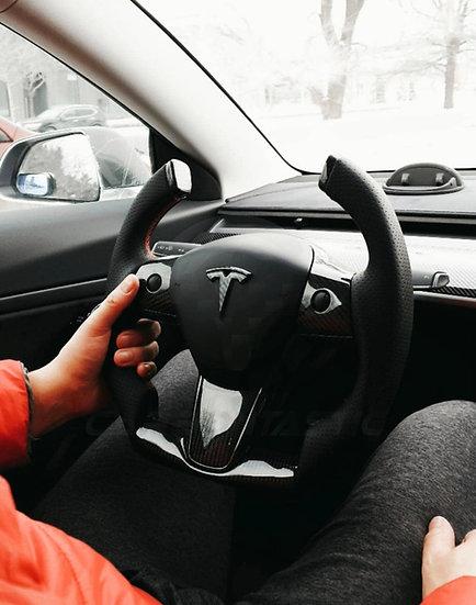 Fighter Jet Style Tesla Model 3/Y Custom Carbon Fiber Steering Wheel