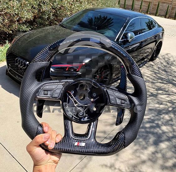 2016+ Audi A3/4/5 S/RS Custom LCD Screen Shift Light Carbon Fiber Steering Wheel