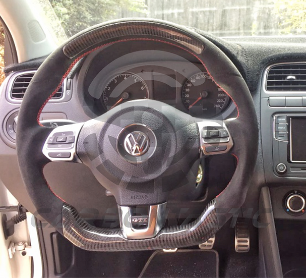 2011+ MK6 GTI Custom Carbon Fiber Steering Wheel (Paddle Shifted) Style 2