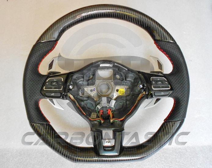 2011+ MK6 GTI Custom Carbon Fiber Steering Wheel (Paddle Shifted) Style 1