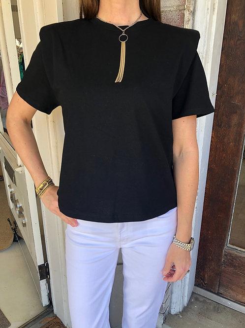 Black Shoulder Pad Top