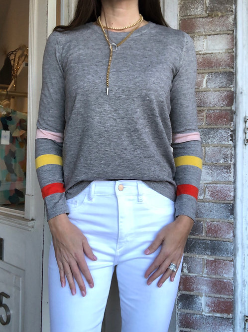 Knit Sweater with Stripe Sleeves