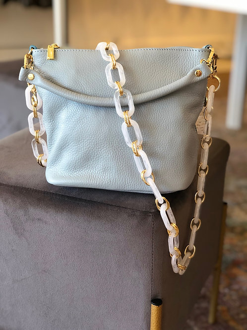 Light Blue Mid Size Leather Handbag