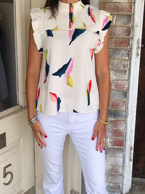 Cream Abstract Blouse