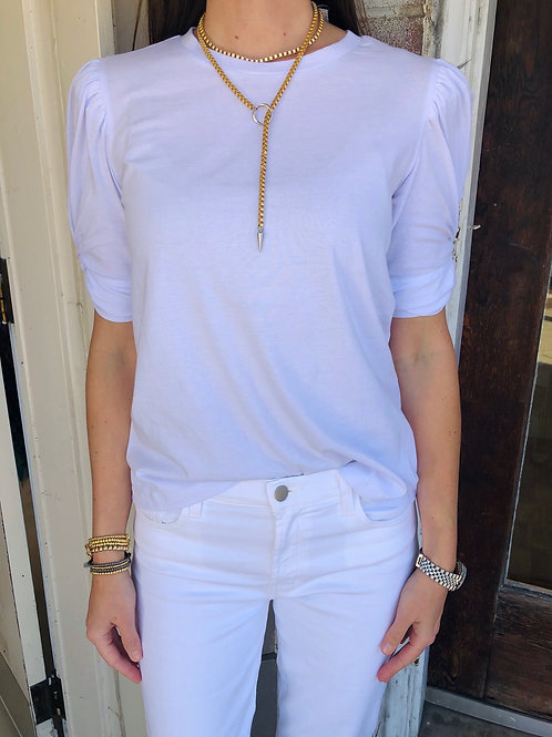 White Knot Sleeve Top