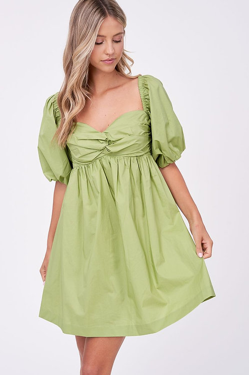 Poplin Babydoll Dress (Green)