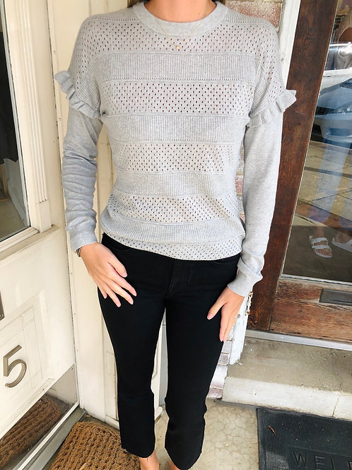 Ruffle Shoulder Sleeve Sweater