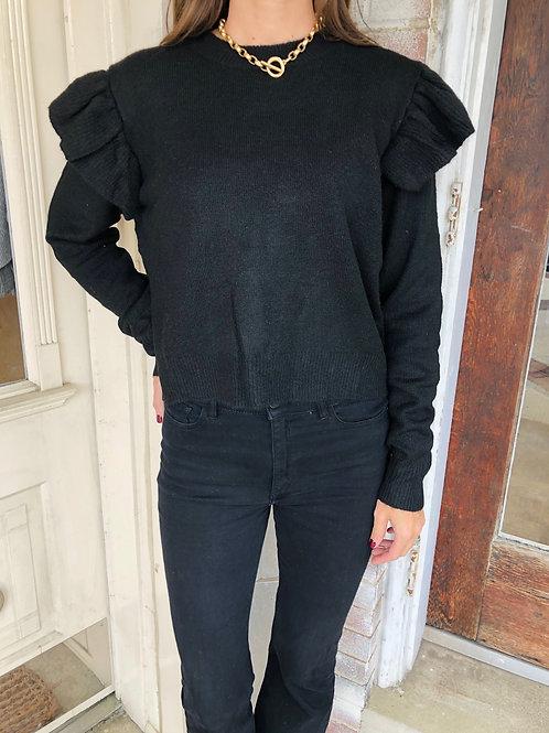 Black Ruffle Shoulder Sweater