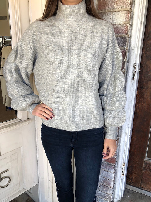 Heather Grey Bubble Sleeve Sweater