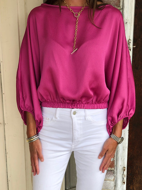 Textured Satin Boat Neck Blouse (Hot Pink)