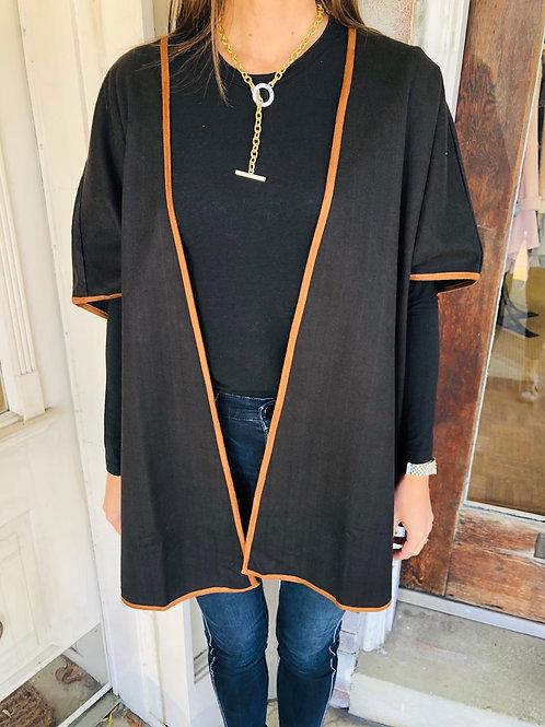 Black/ Camel Trimmed Poncho
