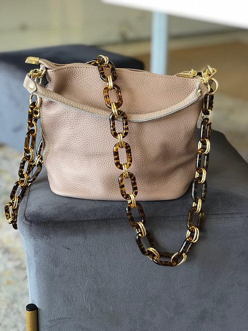 Mid Size Leather Handbag (Dark Blush)