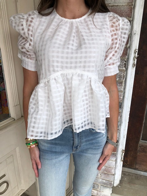 Organza Gingham Blouse