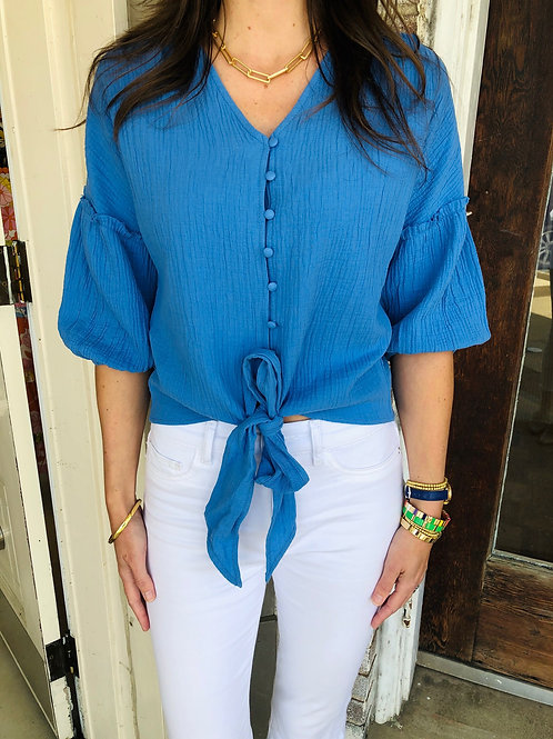 Royal Blue Gauze Tie Top