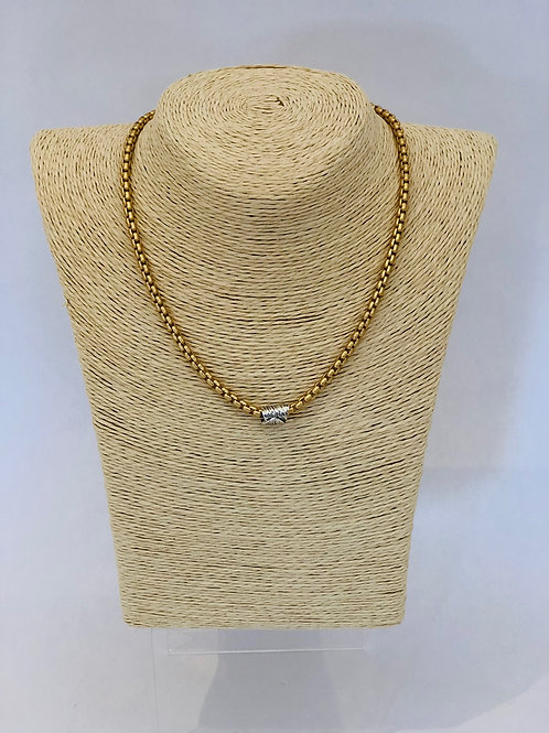 Eaves Necklace (Gold with Silver Barrel)