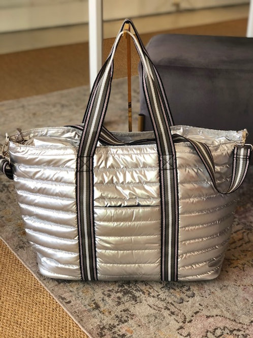 Large Puffer Tote (Silver)