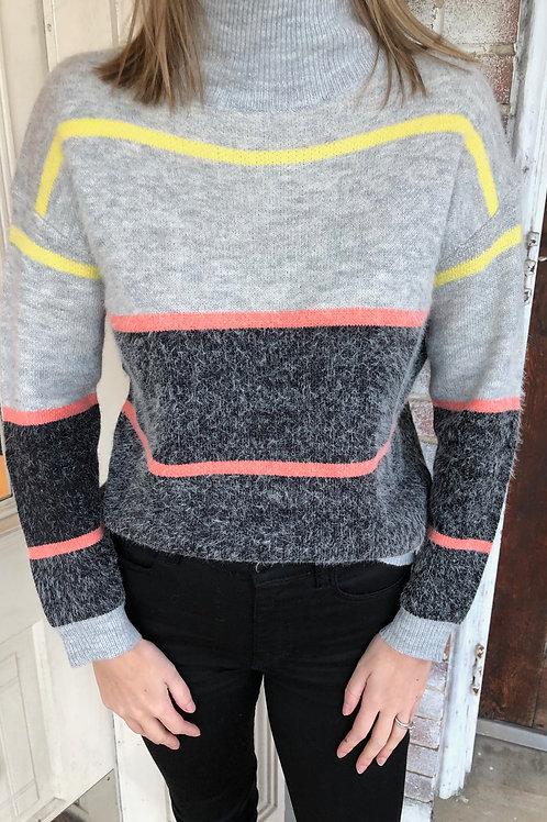 Grey Colorful Stripe Sweater