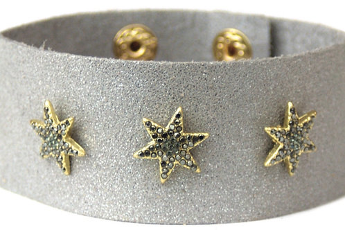 Star Leather Cuff (Grey)
