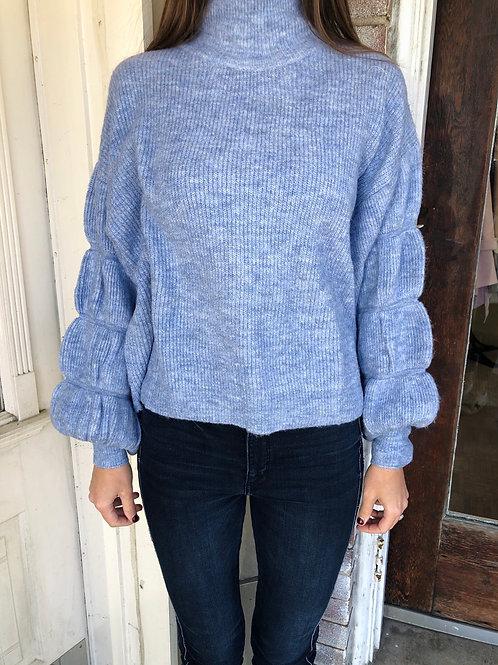 Dusty Blue Bubble Sleeve Sweater