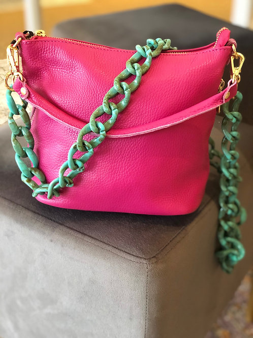 Hot Pink Mid Size Leather Handbag