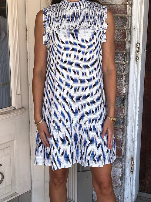 Blue Print Smock Dress
