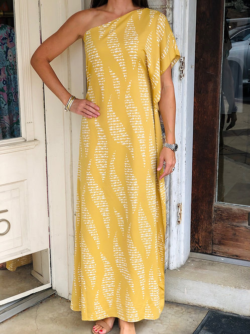 Gold Printed One Shoulder Maxi