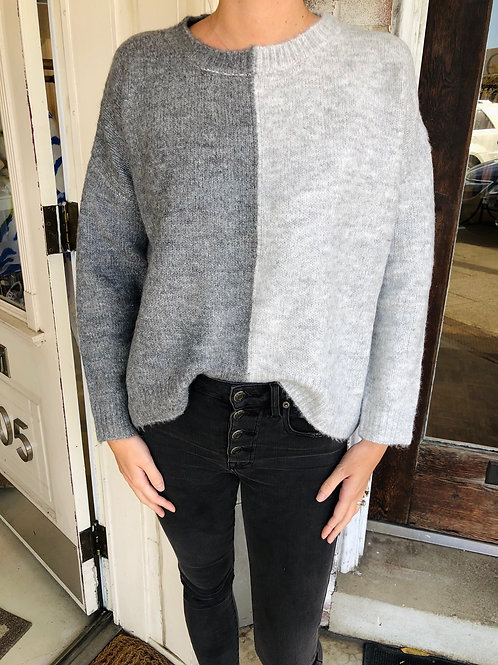 Grey Two-Toned Sweater