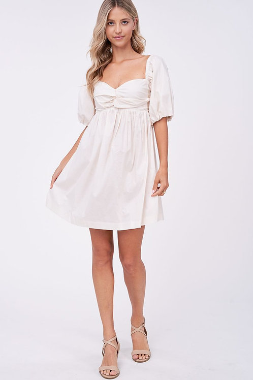 Poplin Babydoll Dress (Cream)