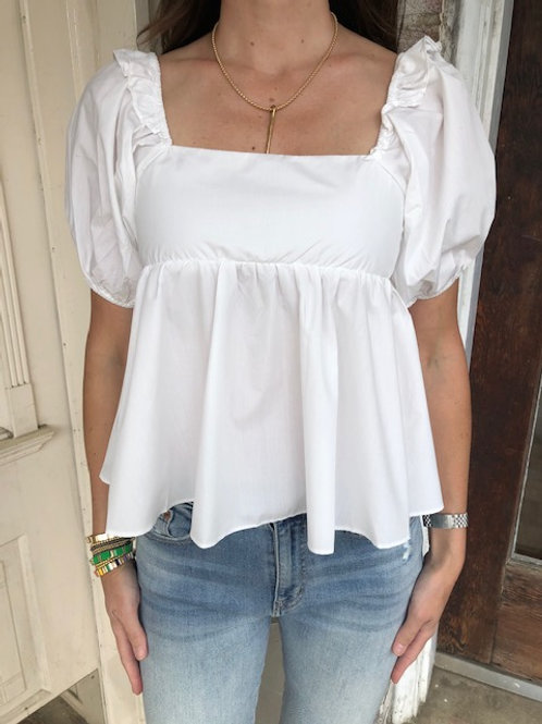 White Bow Babydoll Top