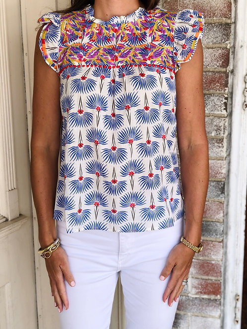 Blue Print Embroidered Top