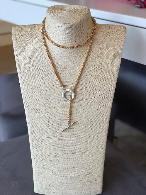 Carmen Wrap Necklace (Gold with Silver Toggle)
