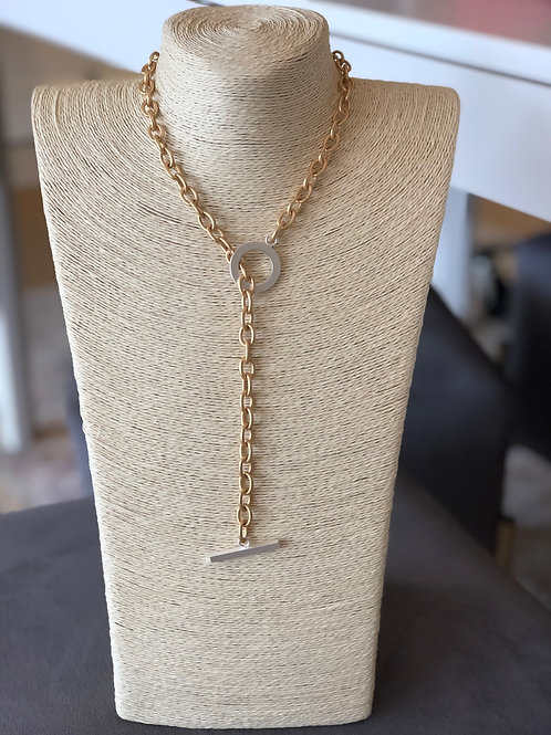 Debbie Necklace (Gold with Silver Toggle)