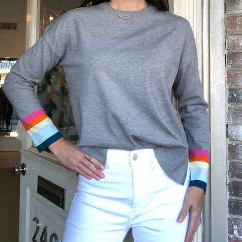 Ribbed Knit Sweater with Stripes