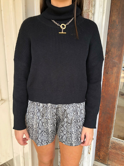 Black Crop Turtleneck Sweater