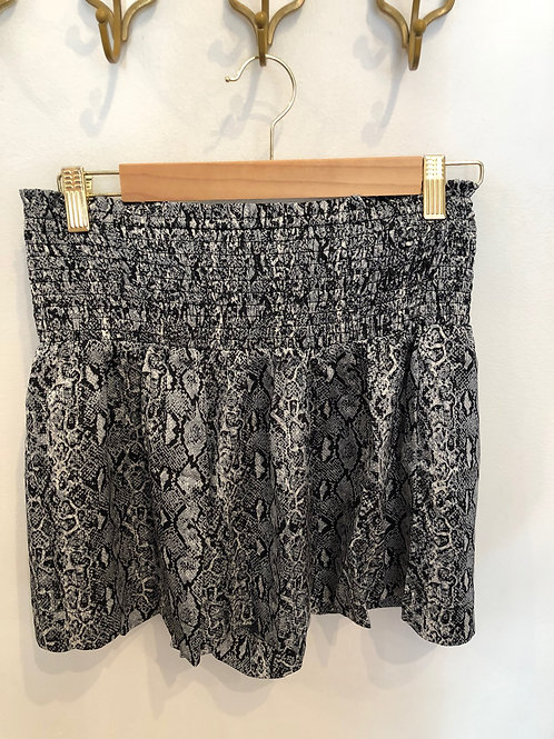 Black Snakeskin Smock Waist Shorts