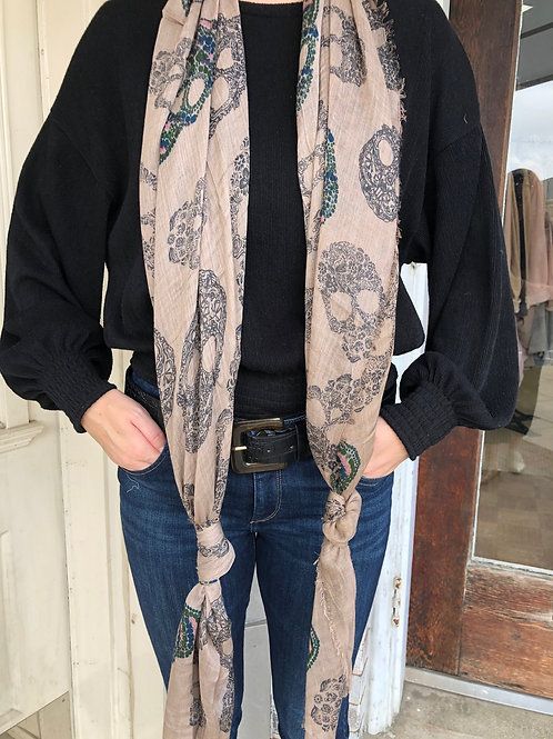 Taupe Skull Scarf
