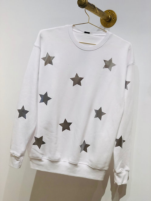Poppy White Sweatshirt with Silver Stars