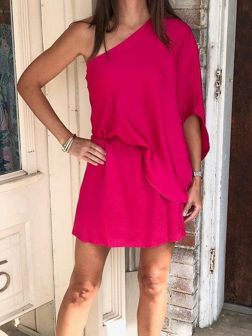 Rasberry Satin One Shoulder Dress