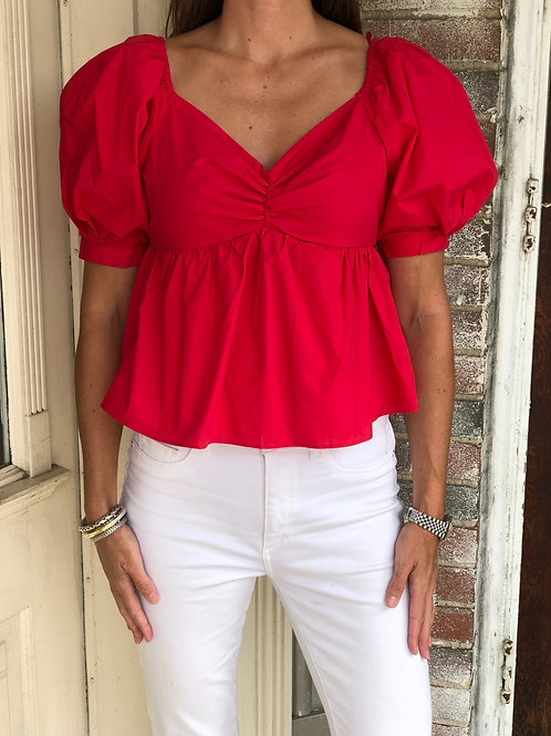 Red Short Puff Sleeve Top