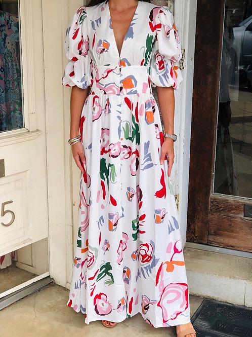 Floral Pattern VNeck Dress