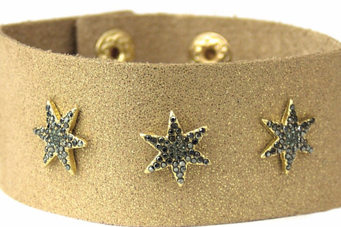 Star Leather Cuff (Tan)