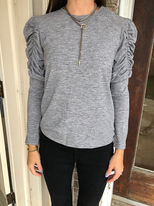 Grey Ruched Long Sleeve Top